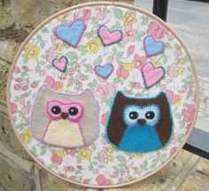 Owl Love Felt Embroidery Hoop Artwork