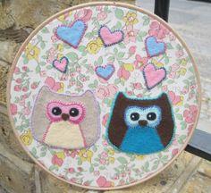Owl Love Felt Embroidery Hoop Artwork