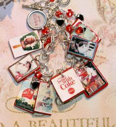 Handmade Coca-Cola charm bracelets made from vintage Coca Cola posters by kimkdep on ETSY