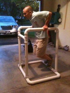 Trinity Training Group: DIY Gear: Dip Station (inspiration for a DIY barre) Home Made Gym, Diy Home Gym, Diy Gym Equipment, No Equipment Workout, Fitness Equipment, Homemade Workout Equipment, Dip Station, Dip Bar, Join A Gym