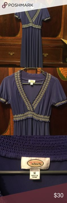 Talbots dress Beautiful purple dress by Talbots. Pretty stitched detailing in front and at elastic sleeves. Heavy material with stretch. Talbots Dresses Midi