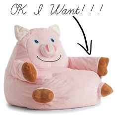 Cuddle up on this loveable Comfort Research Bagimals Arm Chair Bean Bag- Pig . Any animal lover will adore snuggling with this soft, pink pig for. Small Bean Bags, Small Bean Bag Chairs, Outdoor Bean Bag Chair, Kids Bean Bags, Bean Bag Armchair, Bean Bag Sofa, Kids Armchair, This Little Piggy, Little Ones
