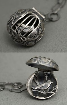 "Pendant | Rebecca Fargher. ""Bird in a cage"". Oxidized sterling silver 650 dollars *faints*"