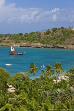 Elevated view over Deep Bay, near the town of St. John's, Antigua, Leeward Islands, West Indies, Caribbean, Central America