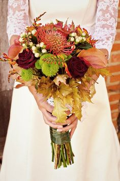 fall wedding bouquet with leaf Bridal Bouquet Fall, Fall Bouquets, Fall Wedding Bouquets, Bridal Bouquets, Boquet, Bouquet Toss, Orange Wedding Flowers, Wedding Colors, Wedding Ideas