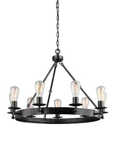 DIMENSIONS: D: 31'' H: 23'' LAMPING: 9 Medium A19 60w Max. LISTING: Safety Listed for Damp Locations WARRANTY: 1-Year Warranty Overall Height: 145 1/4'' Supplied with 12' of wire Supplied with 10' of