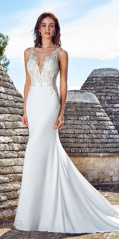 eddy k 2018 bridal sleeveless illusion jewel deep sweetheart neckline heavily embellished bodice elegant glamorous fit and flare wedding dress sheer lace back chapel train (ines) mv