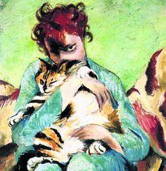 Kasia von Szadurska auf einem Selbstbildnis mit Katze aus dem Jahre 1929.