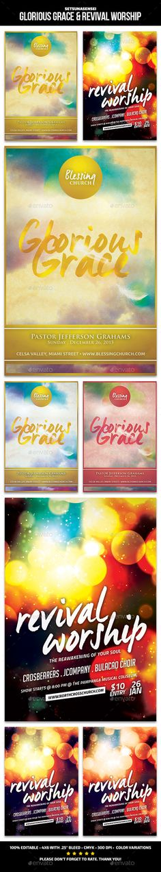 Glorious Grace & Revival Worship Church Flyers These flyers are perfect for promoting your church upcoming sermon or concert about the glorious grace of God. FeaturesFlyers size are 46 with bleeds, CMYK Layers are all well organized. Ready to print Christian Conferences, Gospel Concert, Worship Night, Verses About Love, Modern Church, Concert Flyer, Layout, Flyer Design Templates, Amazing Grace