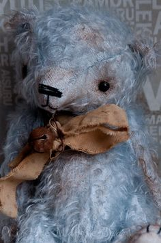 Pocket Sized Blue Bear  RESERVED FOR by VintageMagpieBears on Etsy, £125.00
