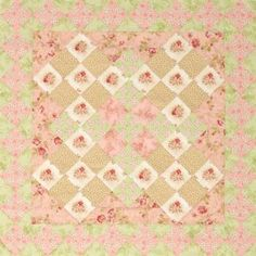 Fussy-cut floral designs to add pizzazz to large Nine-Patch blocks.