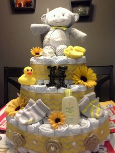 Yellow and grey diaper cake