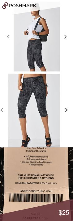 NWT fabletics sweatpants Brand new size medium Hamilton sweatpants with foldover waistband . Soft French terry fabric . Constellation print. Price is firm at $25 this is half their original price ! Fabletics Pants Ankle & Cropped