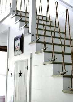 "Stair ""ballustrades"" with rope and cleats.  Doesn't exactly meet code, but .....AWE-some!"