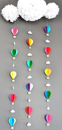 Hot Air Balloons with Tissue Pom Cloud, Up Up and Away, Birthday Party Decor, Nursery Decor, Photo prop