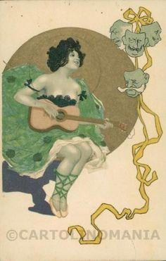 Art Nouveau Raphael Kirchner Style relief cartolina postcard RK0521