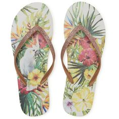 Aeropostale Glitter Hibiscus Flip-Flop ($7) ❤ liked on Polyvore featuring shoes, sandals, flip flops, gold, multi color shoes, gold sandals, flower sandals, multi colored sandals and aeropostale sandals