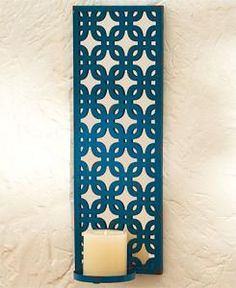 #880337019 Blue Lattice Candle Wall Sconce by sensationaltreasures