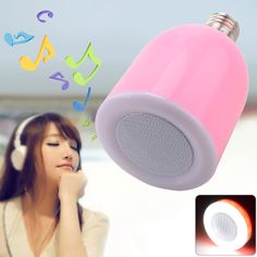 BT-LED 2 in 1 Bluetooth Music Speaker E27 LED Lamp Remote Control - Pink