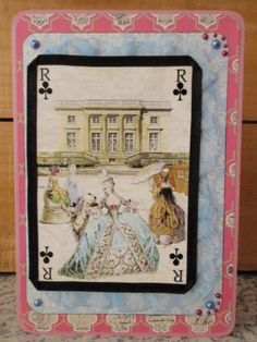 Fancy birthday card with a postcard labelled 'Le Trianon Versailles', lovely colouring, used funky and vintage graphic design paper as background, layered the postcard and bordered it with blue and black ribbon.