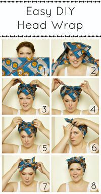 1. Fold long side under.  2. Put the middle point on top of your head.  3. Cross sides over.  4. Tie once.  5. Tie twice.  6. Tuck the front point in.  7. Tuck the sides in.