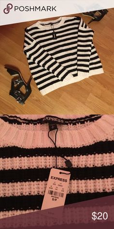 Express sweater Black and white stripes..runs large for a size small; could definitely fit a medium Express Sweaters Crew & Scoop Necks