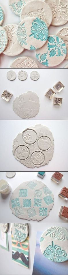 DIY Clay Magnets by Maria del Socorro pinzon - My list of best Diy and Crafts Diy Clay, Clay Crafts, Fun Crafts, Crafts For Kids, Arts And Crafts, Crafts Cheap, Salt Dough Ornaments, Clay Ornaments, Clay Magnets