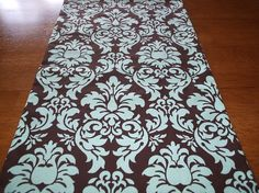Dandy Damask Table Runner in Tiffany Blue and Mocha Brown