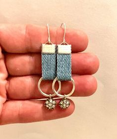 Excited to share this item from my #etsy shop: Blue jean denim fabric geometric earrings rectangle ribbon dangle drop boho hippie casual lightweight unique handmade gift denim jewelry#blue#jean#denim#fabric#geometric#earrings#dangle#drop#ribbon#boho#hippie#unique#denimjewelry#handmade#homemade #rectangle Blue Jeans, Jeans Denim, Fabric Jewelry, Diy Jewelry, Jewelry Making, Denim Earrings, Dangle Earrings, Boho Hippie, Recycled Denim