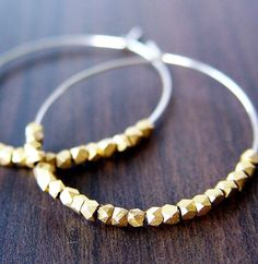 Gold Silver Nugget Hoops Earrings by friedasophie on Etsy, $35.00