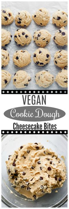 Vegan Cookie Dough Cheesecake Bites - If your a cookie dough and cheesecake lover then these are the bites for you! Made with sugar free dark chocolate chips, sweetened with monk fruit, making th