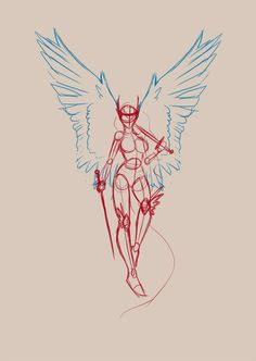 Valkyrie Tattoo Design - Sketch pose for tattoo commission.
