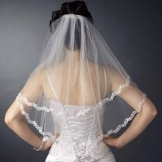 Double Layer Shoulder Length Scalloped Floral Embroidered Lace Edge Veil