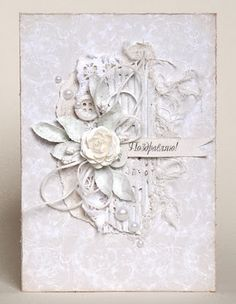 White On White Card...with beautiful lace, leaves, ribbon, & buttons.