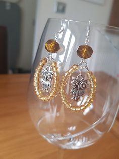 Gold Owl glass bead earrings