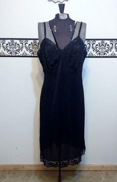 1950's Black Bettie Page Nightgown, Size  38, Vintage 1950's Pin Up Lingerie, 1950's Bombshell Black Negligee, 50's Black Rockabilly Slip by RetrosaurusRex on Etsy