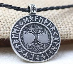 Yggdrasil Rune Necklace, Viking Necklace Tree of Life, Viking Pendant
