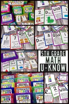 5th grade math games to use during math center, small groups, stations or for early finishers.  Includes 15 games to be used ALL YEAR.  Teach the game once, review all 5th grade math standards with a fun and engaging math activity!  Includes games for decimals, fractions, measurement, line plots, volume, coordinates, 2D figures and more!
