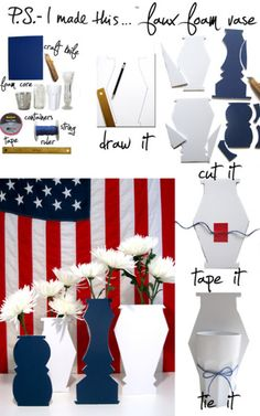 Declare your Independence DIY Day!  From the backyard BBQ's to beach blow-outs,  boasting your red, white, and blue for July 4th is the thing to do!  Hand over heart, it's all about art- so get involved.  Create a cool, creative, and craftastic centerpiece for your July 4th fete.