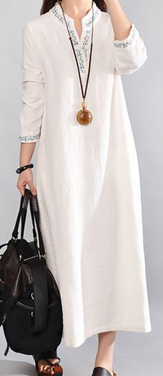c9a213292ee6 New white long linen dresses casual v neck cotton dresses vintage embroidery  linen dress