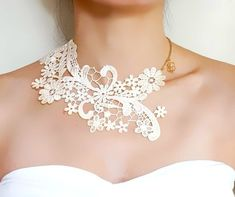 SALE cream white lace choker bib necklace // gold by LaceFancy