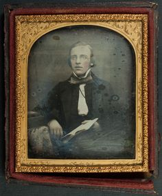 Daguerreotype of a bespectacled young man reading - Sixth-plate probably mid 1850s. It came to me with another image by John Urie Glasgow and it is in an identical case so it is possibly connected. Sadly though no identification of sitter or photographer.