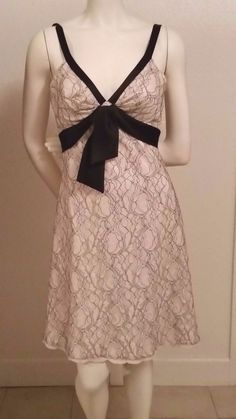White House|Black Market, Ivory & Black Lace Dress, size 0, Formal Cocktail #WhiteHouseBlackMarket #EmpireWaist #Cocktail