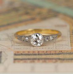 Art Deco Old Cut Diamond Engagement Ring, Vintage 0.50 Carat Solitaire with Diamond Shoulders, 18ct Yellow Gold & Platinum