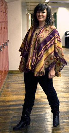 DIY fleece poncho tutorial. Make from fabric yardage or from a fleece throw.