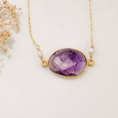 February Birthstone Necklace  Purple Amethyst bezel by delezhen, $49.00