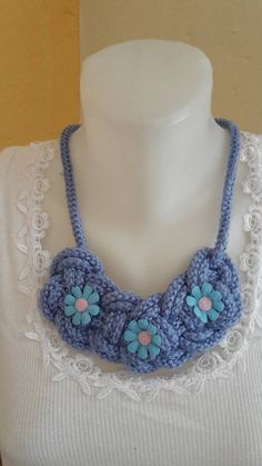 ElinorHandmade / Modrý spletaný Crochet Necklace, Jewelry, Fashion, Jewlery, Moda, Crochet Collar, Jewels, La Mode, Jewerly