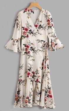 Plunge Neck Floral Print Bell Sleeve Slit Side Dress