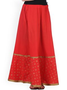 afa1042a3d Buy 9rasa Red Hand Block Print Maxi Skirt - - Apparel for Women from 9rasa  at