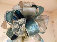Large Christmas Tree topper bow  3 ribbons Teal glitter, shimmering Silver and sheer teal with white Snowflakes by creativelycarole on Etsy